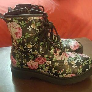 Floral print boots.
